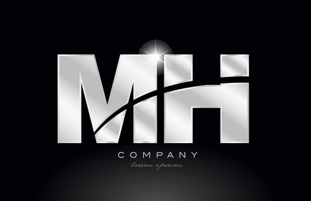 silver letter mh m h metal combination alphabet logo icon design with grey color on black background suitable for a company or business