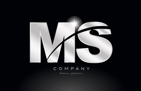 silver letter ms m s metal combination alphabet logo icon design with grey color on black background suitable for a company or business Illusztráció
