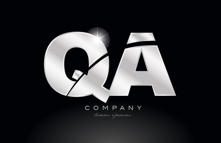 silver letter qa q a metal combination alphabet logo icon design with grey color on black background suitable for a company or business Vectores