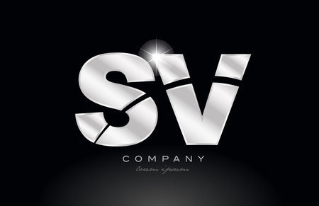 silver letter sv s v metal combination alphabet logo icon design with grey color on black background suitable for a company or business 일러스트
