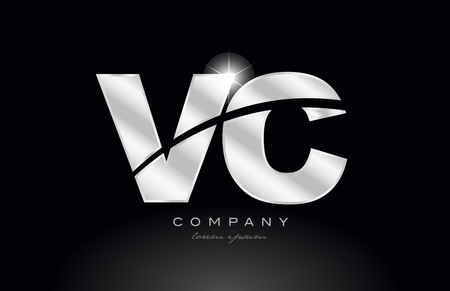 silver letter vc v c metal combination alphabet logo icon design with grey color on black background suitable for a company or business 일러스트