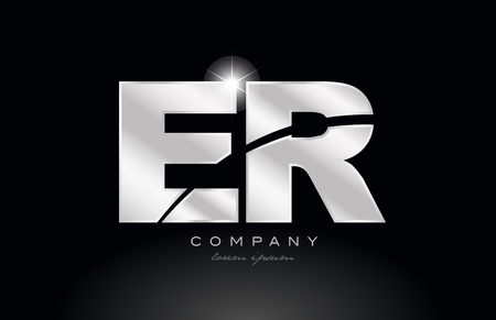 silver letter er e r metal combination alphabet logo icon design with grey color on black background suitable for a company or business