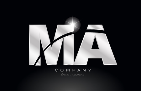 silver letter ma m a metal combination alphabet logo icon design with grey color on black background suitable for a company or business