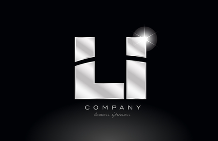 silver letter li l i metal combination alphabet logo icon design with grey color on black background suitable for a company or business