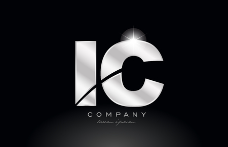 silver letter ic i c metal combination alphabet logo icon design with grey color on black background suitable for a company or business