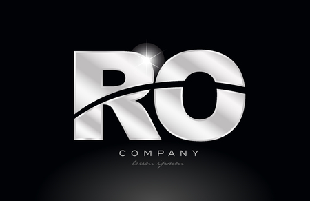 silver letter ro r o metal combination alphabet logo icon design with grey color on black background suitable for a company or business