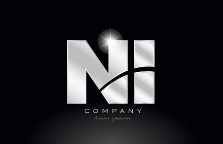 silver letter ni n i metal combination alphabet logo icon design with grey color on black background suitable for a company or business