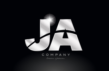 silver letter ja j a metal combination alphabet logo icon design with grey color on black background suitable for a company or business