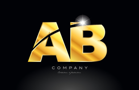 combination letter ab a b gold golden alphabet logo icon design with metal look on black background suitable for a company or business