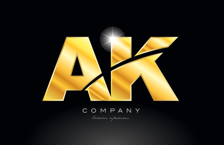combination letter ak a k gold golden alphabet logo icon design with metal look on black background suitable for a company or business Logo