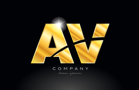combination letter av a v gold golden alphabet logo icon design with metal look on black background suitable for a company or business