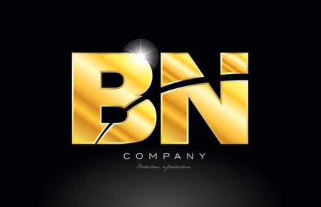 combination letter bn b n gold golden alphabet logo icon design with metal look on black background suitable for a company or business