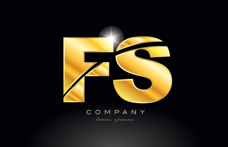 combination letter fs f s gold golden alphabet logo icon design with metal look on black background suitable for a company or business