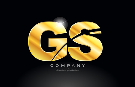 combination letter gs g s gold golden alphabet logo icon design with metal look on black background suitable for a company or business