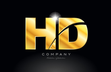 combination letter hd h d gold golden alphabet logo icon design with metal look on black background suitable for a company or business