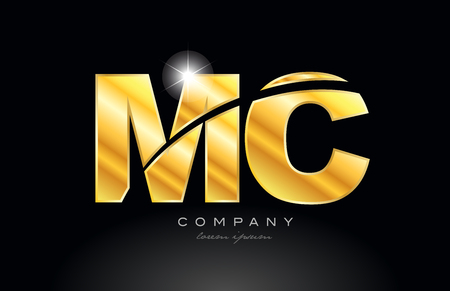 combination letter mc m c gold golden alphabet logo icon design with metal look on black background suitable for a company or business 일러스트