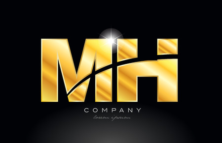 combination letter mh m h gold golden alphabet logo icon design with metal look on black background suitable for a company or business