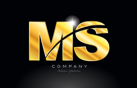 combination letter ms m s gold golden alphabet logo icon design with metal look on black background suitable for a company or business