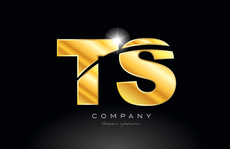 combination letter ts t s gold golden alphabet logo icon design with metal look on black background suitable for a company or business
