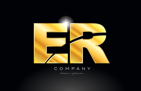 combination letter er e r gold golden alphabet logo icon design with metal look on black background suitable for a company or business