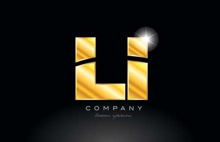 combination letter li l i gold golden alphabet logo icon design with metal look on black background suitable for a company or business