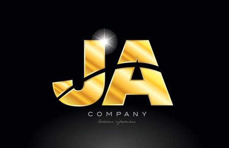 combination letter ja j a gold golden alphabet logo icon design with metal look on black background suitable for a company or business Illustration