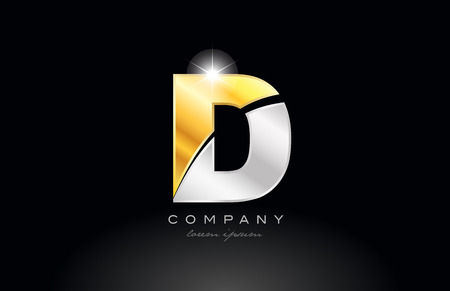 letter D alphabet logo icon design with gold silver grey metal on black background suitable for a company or business