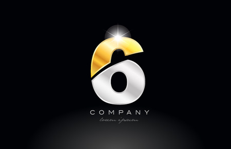 number 6 logo icon design with gold silver grey metal on black background suitable for a company or business