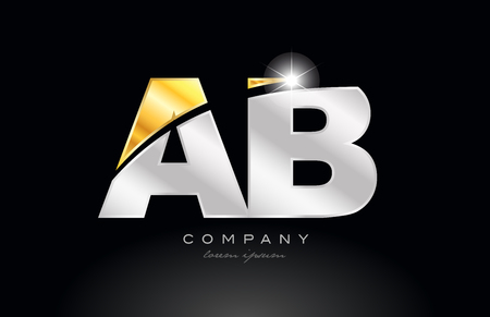 combination letter ab a b alphabet logo icon design with gold silver grey metal on black background suitable for a company or business Illustration