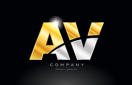 combination letter av a v alphabet logo icon design with gold silver grey metal on black background suitable for a company or business