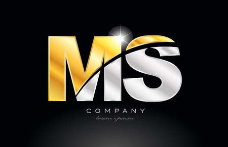 combination letter ms m s alphabet logo icon design with gold silver grey metal on black background suitable for a company or business 矢量图像