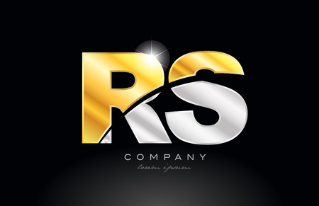 combination letter rs r s alphabet logo icon design with gold silver grey metal on black background suitable for a company or business