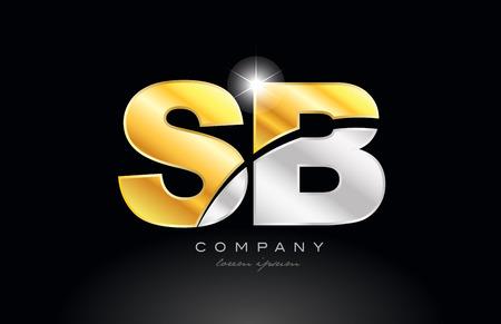 combinatie letter sb sb alfabet pictogram embleemontwerp met goud zilver grijs metaal op zwarte achtergrond geschikt voor een bedrijf of onderneming Vector Illustratie