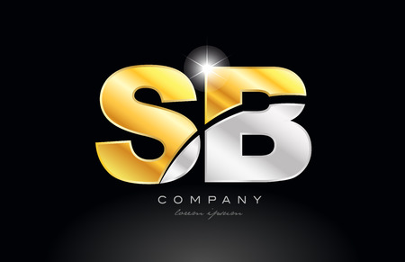combination letter sb s b alphabet logo icon design with gold silver grey metal on black background suitable for a company or business