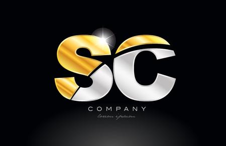 Letra de combinación sc sc diseño de icono del logotipo del alfabeto con metal gris plateado dorado sobre fondo negro adecuado para una empresa o negocio