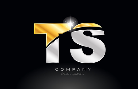 combination letter ts t s alphabet logo icon design with gold silver grey metal on black background suitable for a company or business