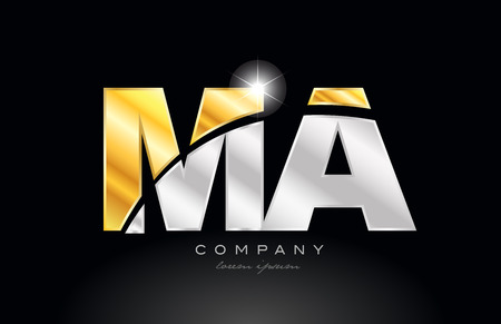 combination letter ma m a alphabet logo icon design with gold silver grey metal on black background suitable for a company or business