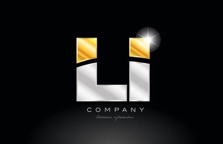 combination letter li l i alphabet logo icon design with gold silver grey metal on black background suitable for a company or business