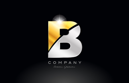 letter B alphabet logo icon design with gold silver grey metal on black background suitable for a company or business