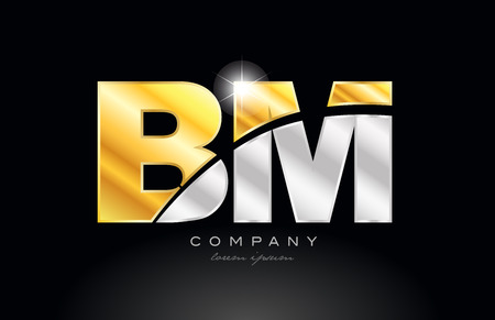 combination letter bm b m alphabet logo icon design with gold silver grey metal on black background suitable for a company or business