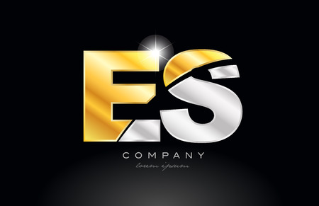 combination letter es e s alphabet logo icon design with gold silver grey metal on black background suitable for a company or business