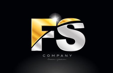 combination letter fs f s alphabet logo icon design with gold silver grey metal on black background suitable for a company or business Ilustração