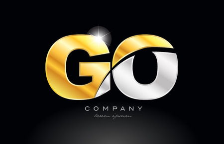 combination letter go g o alphabet logo icon design with gold silver grey metal on black background suitable for a company or business Illustration