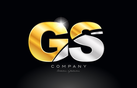 combination letter gs g s alphabet logo icon design with gold silver grey metal on black background suitable for a company or business Illusztráció