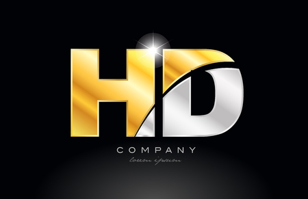 combination letter hd h d alphabet logo icon design with gold silver grey metal on black background suitable for a company or business