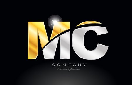 combination letter mc m c alphabet logo icon design with gold silver grey metal on black background suitable for a company or business