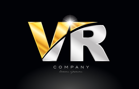 combination letter vr v r alphabet logo icon design with gold silver grey metal on black background suitable for a company or business