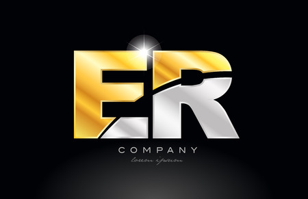 combination letter er e r alphabet logo icon design with gold silver grey metal on black background suitable for a company or business