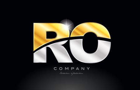 combination letter ro r o alphabet logo icon design with gold silver grey metal on black background suitable for a company or business