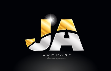 combination letter JA J A alphabet logo icon design with gold silver grey metal on black background suitable for a company or business